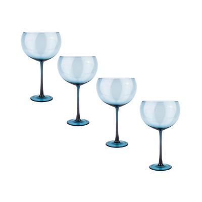 Set copas de vidrio 600 ml azul 4 unidades