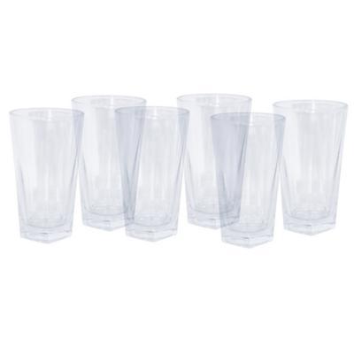 Set vasos de vidrio 360 ml transparente 6 unidades