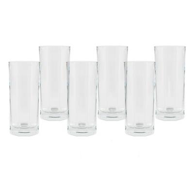 Set vasos de vidrio 310 ml transparente 6 unidades
