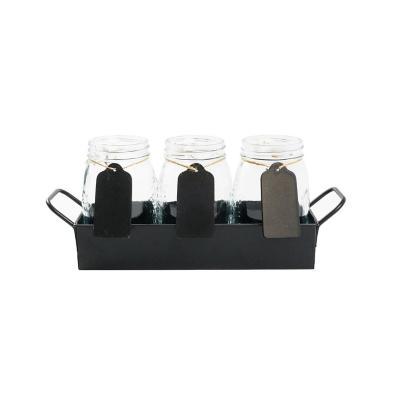 Set frascos con bandeja 600 ml vidrio 3 unidades