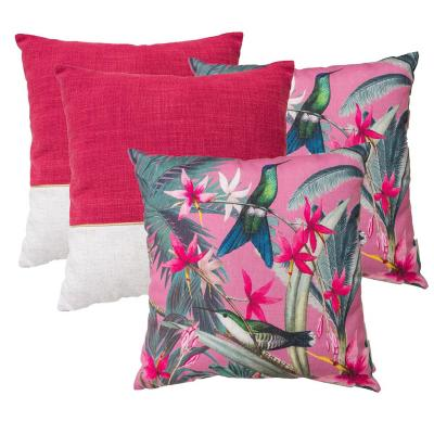 Pack cojines colibrí rojo 44x44 cm