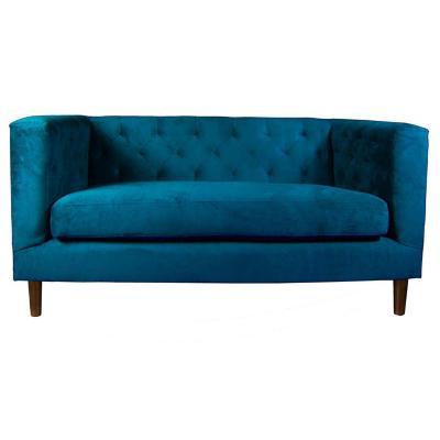 Sofá brescia 2 cuerpos velvet 160x78x74 cm azul