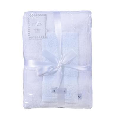 Set de 3 toallas mano + baño + visita blanco