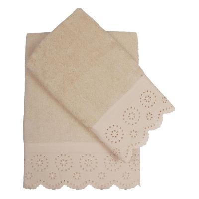 Set de 2 toallas cuerpo + mano beige