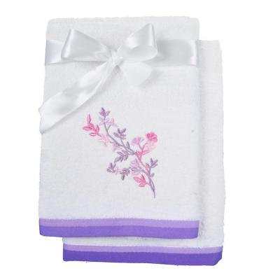 Set de 2 toallas cuerpo + mano crudo lila