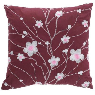 Cojín japón en flor fondo burdeo 45x45 cm