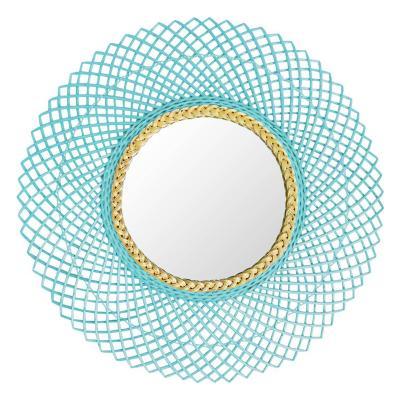 Espejo mimbre turquesa pastel