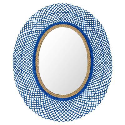 Espejo mimbre Ovalado azul