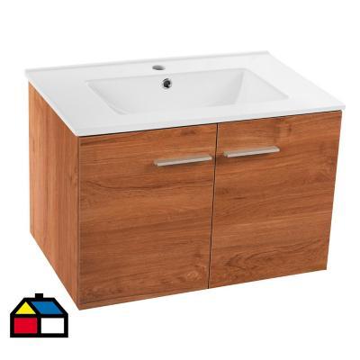 Mueble vanitorio loza castaño