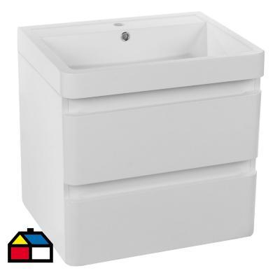 Mueble vanitorio 2 cajones con lavamanos blanco