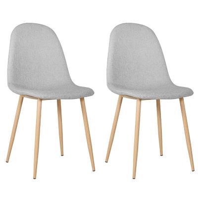 Set de 2 sillas gris tapizado tela 52x44x87 cm