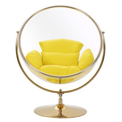 Sillón columpio cojín amarillo 132x68x60 cm base dorada