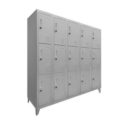 Lockers 15 puertas 166x137x45 cm acero