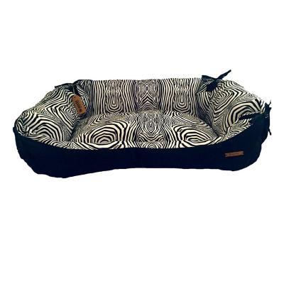 Cama para mascotas grande 62x75x28 cm blanco negro