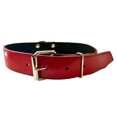 Collar cuero perro 3,5x65 cm grande rojo