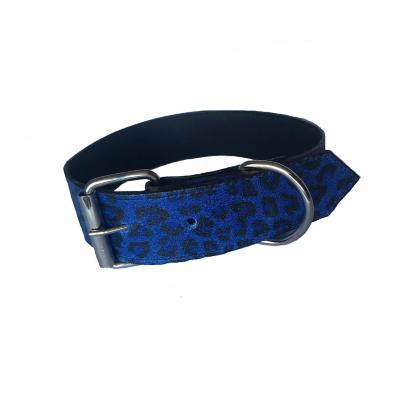 Collar cuero perro 3,5x55 cm grande azul