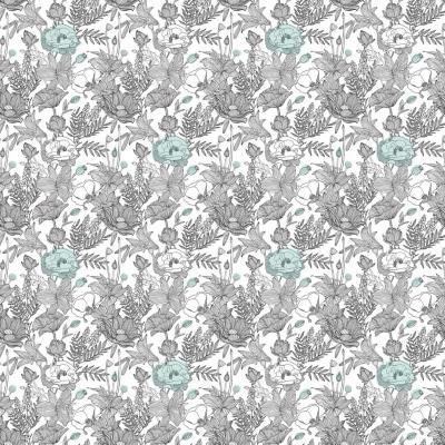 Papel mural floreado pattern verde 100x500 cm