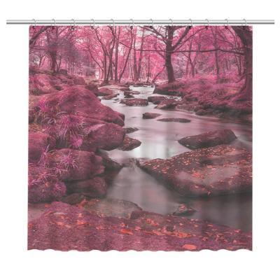 Cortina de baño bosque rosado 150x180 cm
