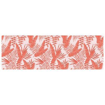 Camino de mesa hojas tropicales rosa 200x40 cm