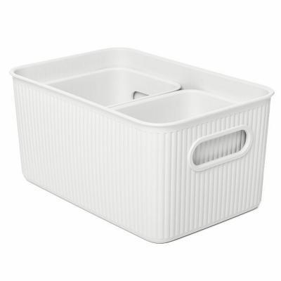 Set x 3 canastos plástico blanco