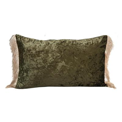 Cojín de terciopelo oliva 40x60 cm