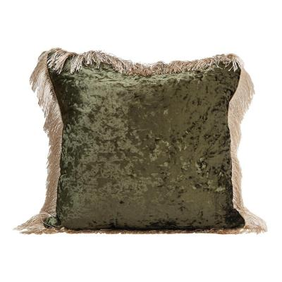Cojín de terciopelo oliva 50x50 cm