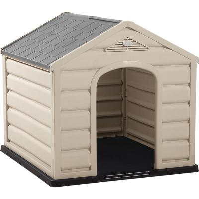 Casa para perros 92x90x89 cm techo gris grande