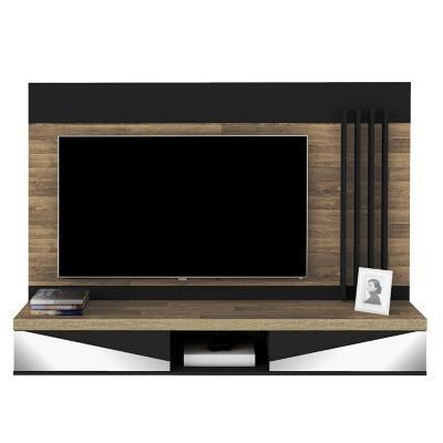 """Panel TV 65"""" Monaco Rustico y Negro 135x180x33 cm"""