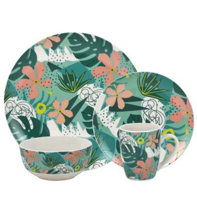 Juego de vajilla 16 piezas floral/hojas tropical Punch