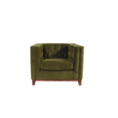 Sofá roma 1 cuerpo tela velvet verde 100x85x79 cm