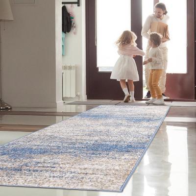 Alfombra florida pasillo azul 80x230 cm
