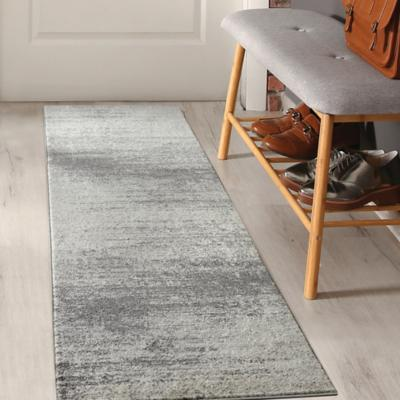 Alfombra florida pasillo gris 80x230 cm