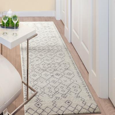 Alfombra florida pasillo blanco 80x230 cm