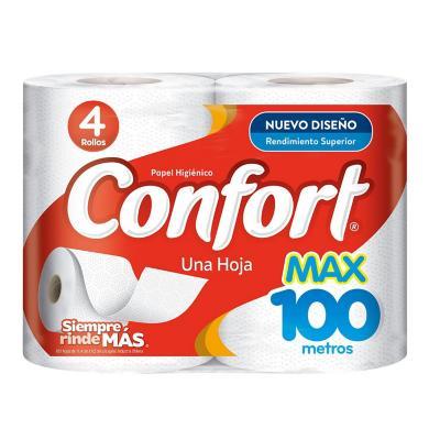 Papel higiénico max 4 rollos 100 metros
