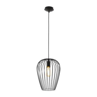 Lámpara colgante acero negro E27 1X60W