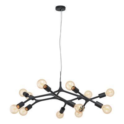 Lámpara colgante acero negro E27 12X60W