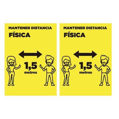 Pack 2 señaleticas mantener distancia 15x20 cm amarillo