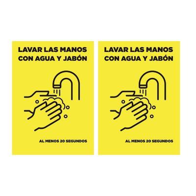 Pack 2 señaleticas lavado de manos 15x20 cm amarillo
