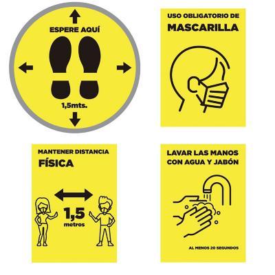 Pack 4 señaleticas todos los diseños amarillo