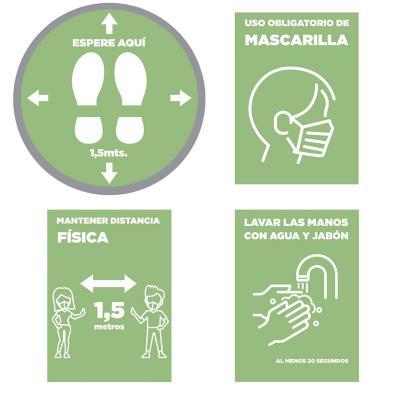Pack 4 señaleticas todos los diseños verde