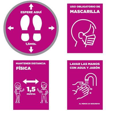 Pack 4 señaleticas todos los diseños rosado