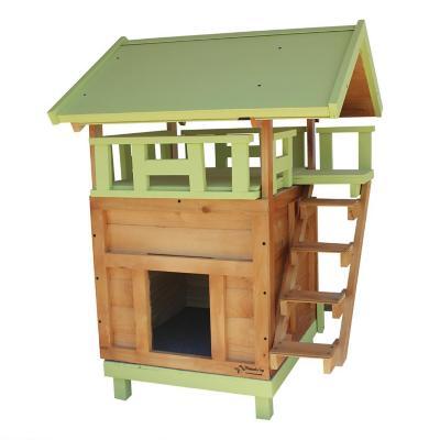 Casa para gato mediana con terraza 70x100x60 cm verde