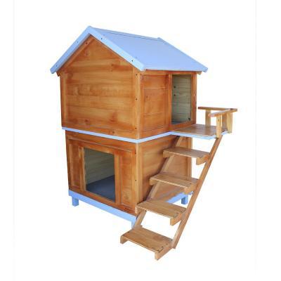Casa para perro dos pisos mediana 75x120x70 cm azul