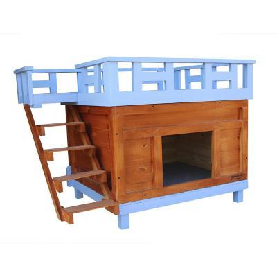 Casa para gato grande 80x70x70 cm azul