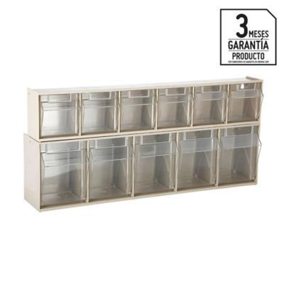 Set 2 organizadores cajas transparentes 60x14x22cm