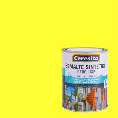 Esmalte sintético amarillo limón 1/4 de galón
