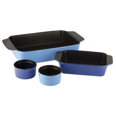 Set 2 asadera + 2 ramekin cerámica azul