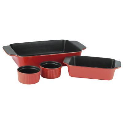 Set 2 asadera + 2 ramekin cerámica rojo