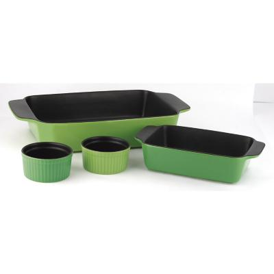 Set 2 asadera + 2 ramekin cerámica verde