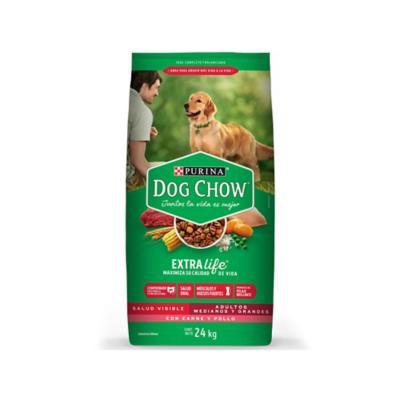 Dog chow adultos medianos y grandes carne y pollo 24 kilos